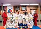 Twenty students of Tae Kwon Do in Staples were awarded new belts and certificates Feb. 14, at the Landmark Inn in Staples. The students, who tested on Feb. 2, are part of the National Tae Kwon Do Institute, taught by Master Instructor Francisco Jimenez. Pictured above, back row from left: Gabe Ritter, Samantha Motl, Sarah Carlson, Dylan Huhn, Nathan Ritter. Center: Instructor Jimenez, Jaden Polkow, Huntington F. Kleinschmidt, Israel Ritter, Tucker Fitzgerald, Gunner F. Kleinschmidt, Lilith Tester, Giselle P