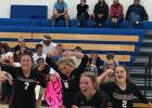 Staples-Motley volleyball players react to finishing the 3-2 win, after starting out down 0-2. From left, Mackenna Bjerga, Bo Erholtz, Ava Schneider and Aubrey Brandt. (Submitted photos)